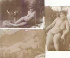 3 CARTES-PHOTO ANNEES 20-30.FEMMES NUES.GROS PLAN .CARTES ABIMEES.TACHES.A SAISIR PETIT PRIX - Nus Adultes (< 1960)