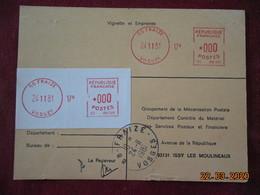 Carte De Contrôle Et D'entretien Des Machines SATAS De Fraize De 1981 - Marcophilie (Lettres)