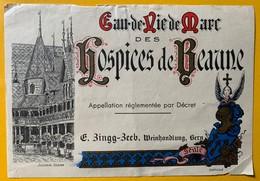 12596 - Eau-de-Vie De Marc Des Hospices De Beaune !!! Pli Central état Moyen - Etiquettes