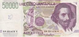 BILLETE DE ITALIA DE 50000 LIRAS DEL AÑO 1992 DE LORENZO BERNINI EN BUENA CALIDAD (BANKNOTE) - 50000 Lire