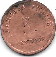 VIlvoorde Colonie Et Argent De  Prison Militaire 5 Cents 1833 VE5.2a Catalog Val 50 Euro Colony And Military Prison - Autres