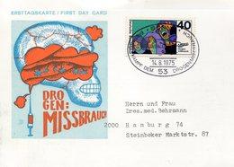 52520 Germany, Special Card And Postmark 1975 Bonn, Drogen Missbrauch, Drug Abuse, Abus De Drogues - Droga