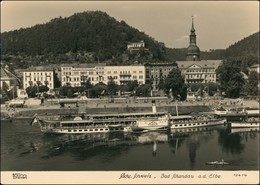 Ansichtskarte Bad Schandau Elbdampfer Bus Anleger 1956 Walter Hahn:13414 - Bad Schandau