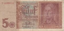 BILLETE DE ALEMANIA DE 5 REICHSMARK DEL AÑO 1942   (BANKNOTE) - [ 4] 1933-1945 : Tercer Reich