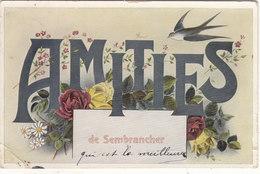 """SEMBRANCHER :CPA GLACEE N.TROUVEE SUR SITES."""" AMITIES"""".1909. 1 PLI BAS GAUCHE.PETIT PRIX.COMPAREZ!!! - VS Valais"""