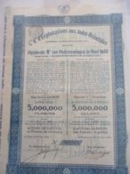 Compagnie Générale D'Exploitations Aux Indes Orientales - Capital 5 000 000 - émis En 1924 - Asie