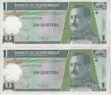 PAREJA CORRELATIVA DE GUATEMALA DE 1 QUETZAL  20 DICIEMBRE 2006 (BANK NOTE) POLIMERO - Guatemala