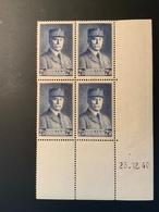 Bloc De 4 Timbres Neufs PETAIN 2,50 YT 473 Daté 23/12/40 - 1941-42 Pétain