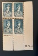 Bloc De 4 Timbres Neufs PETAIN 80 Cts YT 471 Daté 20/12/1940 - 1941-42 Pétain