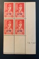 Bloc De 4 Timbres Neufs PETAIN 1 F Surcharge +10Cts YT 494 Daté 18/01/1941 - 1941-42 Pétain