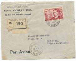 AOF SENEGAL ENV DAKAR LETTRE RECOMMANDEE AVION => METROPOLE TIMBRE SEUL SUR LETTRE - Sénégal (1887-1944)