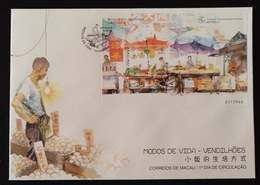 MAC1337-Macau FDCB With Block Of 1 Stamp - Ways Of Life - Street Traders - Macau - 1998 - Macau