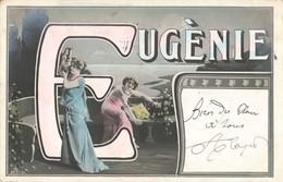 Prénom Eugénie Cpa Carte Fantaisie Ancienne Cachet 1905 - Nomi