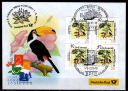 2001 Germany Cover Hong Kong 2001 Exhib. 4x Mi 2161 Birds, Parrots, Medical Plants Indian Pepper L. Fuchs Botanic Doctor - Heilpflanzen