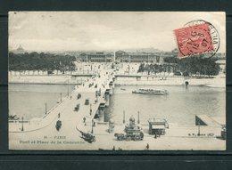 Carte Postale De PARIS (Pont Et Place De La Concorde) De 1907- Y&T N°129 - Postmark Collection (Covers)