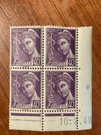Bloc De 4 Timbres Neufs. Mercure  40 Cts YT 413 Daté 10 Février1940 - 1938-42 Mercure