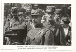 6 AOUT 1914. CINQUIEME JOURNEE DE MOBILISATION. 5e REGIMENTS D'INFANTERIE.  PARIS - Reggimenti