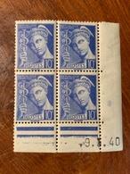 Bloc De 4 Timbres Neufs. Type Mercure 10 Cts   YT 407 Daté 9 Mars 1940 - 1938-42 Mercure