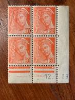 Bloc De 4 Timbres Neufs. Type Mercure 60 Cts   YT 415 Daté 12 Juillet 1939 - 1938-42 Mercure