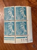 Bloc De 4 Timbres Neufs. Type Mercure 50 Cts Postes Françaises    YT 549 Daté 11/12/44 - 1938-42 Mercure