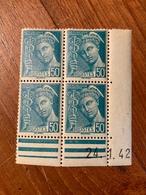 Bloc De 4 Timbres Neufs. Type Mercure 50 Cts    YT 414B Je Pense Daté 24 Janvier 1942 - 1938-42 Mercure
