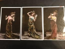 Lot De 3 Cartes Uranotypie 1900 Fillettes Coiffures - Mujeres