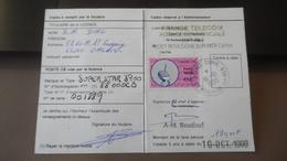 Timbre Radio CB 1990 - Ministère Des PTE Carte De Licence - Fiscaux