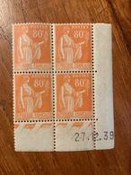 Bloc De 4 Timbres Neufs. Type Paix 80 Cts    YT  Daté 27 Décembre 1939 - 1932-39 Paix