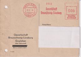 BRD, Karte Absenderfreistempel Gewerkschaft Braunschweig-Lüneburg Grasleben, 1946, Bergbau Kali, AFS Modifiziert - Briefe U. Dokumente