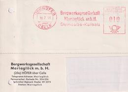 BRD, Karte Absenderfreistempel Bergwerksgesellschaft Mariaglück Höfer, 1958, Bergbau Kali Und Salz - Briefe U. Dokumente