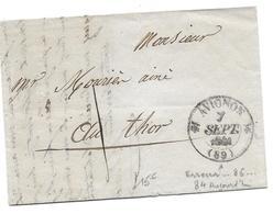AVIGNON 86 THOR MARQUE LINEAIRE 1841- MOURIER - LETTRE MARQUE POSTALE - Marcophilie (Lettres)