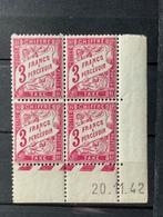 Bloc De 4 Timbres Neufs. Taxe  3 Fr à Percevoir    YT  Daté 20 Novembre 1942 - 1859-1955.. Ungebraucht
