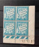 Bloc De 4 Timbres Neufs. Taxe  5 Centimes à Percevoir    YT  Daté 12 Octobre 1937 - 1859-1955.. Ungebraucht