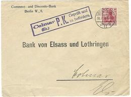 """Censure / Zensur - Colmar - Oblitération """"Berlin SW 11 L / 31.7.1914"""" - Devant D'enveloppe - Occupation 1914-18"""