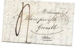 LYON GRENOBLE 1829 ESSAI - DEVILLAS POUR BLANC - TAXE SUR LETTRE MARQUE POSTALE - 1801-1848: Précurseurs XIX