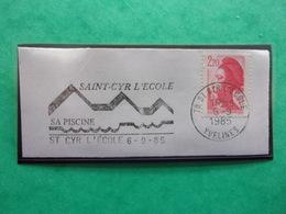 Flamme Saint-Cyr L'école, Sa Piscine 6-9-85 - Marcophilie (Lettres)