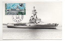 TAAF - FSAT - 1979 - CARTE MAXIMUM - JEANNE D'ARC - BATEAUX - SHIPS - 01/01/79 A ALFRED FAURE CROZET - - Tierras Australes Y Antárticas Francesas (TAAF)