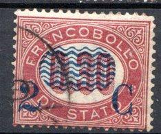 ITALIE (Royaume) - 1878 - N° 28 - 2 C. S. 0,30 - (Timbre De Service De 1875 Avec Surcharge Bleue) - 1900-44 Victor Emmanuel III