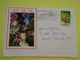 Enveloppe Illustrée Ile De Ré, Roses Trémières, Oblitérée Les Portes En Ré 1998, Très Bon état - Vieux Papiers