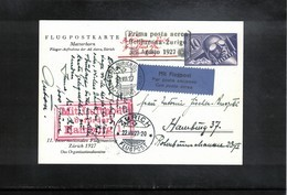 Switzerland Interesting Facsimile Of The Airmail Postcard For The First Flight Bellinzona - Zuerich - Andere Documenten