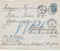 Russia Estonia USA Registered Stationery Cover NARVA St. Petersburg Via NEW YORK To ROCHESTER 1891 (v69) - 1857-1916 Empire