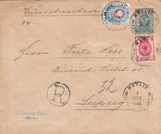 Russia Latvia Germany Registered Stationery Cover MITAVA To Leipzig 1893 (v71) - 1857-1916 Empire