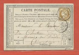 FRANCE CARTE DE 1876 DE DOURDAN POUR SAINT CHERON - 1871-1875 Cérès