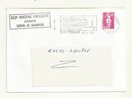 MARIANNE DE BRIAT  4.00 FRANCS  SUR LETTRE .+ FLAMME  BLETTERANS ( JURA). - 1989-96 Marianne Du Bicentenaire