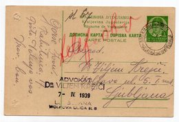 1939 YUGOSLAVIA, SLOVENIA, DOLENJA VAS PRI RIBNICI TO LJUBLJANA, STATIONERY CARD, USED - Postwaardestukken