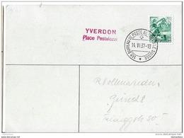 """121 - 37 - Carte Avec Oblit Spéciale """"Yverdon Place Pestalozzi"""" 1937 - Marcophilie"""