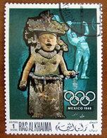 1968 RAS AL KHAIMA Arte Sculture Weightlifting Pre-columbian Sculpture Olimpiadi Mexico - 1r Usato - Ra's Al-Chaima