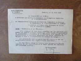 CAMBRAI LE 23 JUIN 1943 LE SOUS PREFET OBJET: CELEBRATION DE LA FÊTE-DIEU - Documents Historiques