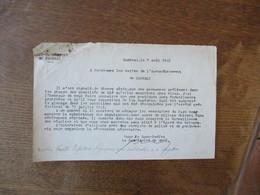 CAMBRAI LE 7 AOÛT 1941 LE SOUS-PREFET SURVEILLANCE DES RECOLTES DES PERSONNES PRELEVENT DANS LES CHAMPS DES QUANTITES DE - Documents Historiques