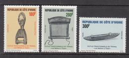 1997 Cote D'Ivoire Ivory Coast Traditional Tools  Complete Set Of 3 MNH - Côte D'Ivoire (1960-...)